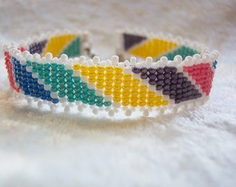Seed Bead Bracelet, Peyote Bracelet, Multi Colored Beaded Bracelet, Yellow Bracelet, Blue Bracelet, Pink Bracelet, Purple Bracelet