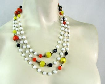 Vintage 1960s Long Chain and Glass Bead Necklace White, Yellow, Black, Orange