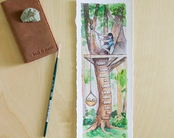 Up in a Tree - Fine Art Print, Puppies and Girls Illustration Series, Watercolor Print, Dog Lover Art, Treehouse Painting