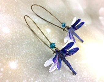 Blue Dragonfly Earrings - Boho Jewelry Wife Jewelry Idea - Womens Insect Jewelry - Summer Jewelry Trends - Nature Gift Her - Purple Dangle