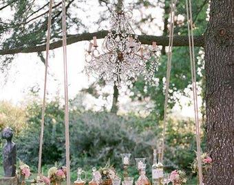 FREE SHIPPING Wedding Murano glass drops chandelier, wrought iron birdcage chandelier, Macaroni beads, beaded chandelier