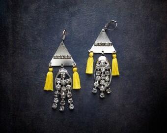 Yellow Tassel Earring Silver Fringe Festival Jewelry Vintage Rhinestone Bar Assemblage Upcycled Retro Triangle Geometric Bohemian Rhinestone