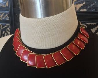 1980s Red and Gold Choker // Red Squares Chain