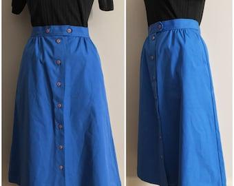 Blue A-Line Button Up Skirt // Blue Vintage Skirt by Koret