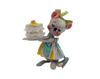 Vintage AnnaLee Little Girl Mouse Felt Figurine with Birthday Cake Folk Art Doll Annalee Rainbow Skirt