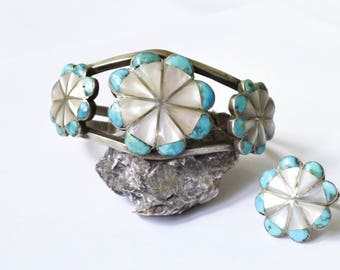 Vintage Turquoise and Mother of Pearl Flower Cuff Bracelet c.1970s