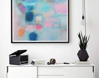 Abstract art Pink Turquoise soft pastel feminine art, Modern pink art, nursery wall decor, Boho style home decor, 2018 interior trends