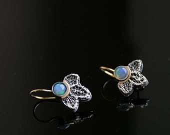 Dainty sterling silver lace earrings - with 14k gold ear wires and  natural opal cabochons