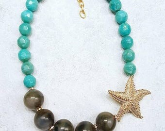 Chunky Starfish Statement Necklace Turquoise Olive Green Huge Bead Asymmetrical