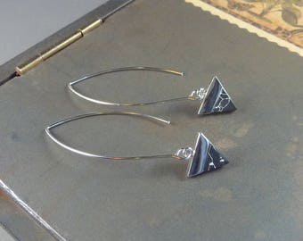 Fancy That. Silver and Black earrings. long earrings. dangle earrings. threader earrings. stone earrings. geometric earrings. drop earrings.