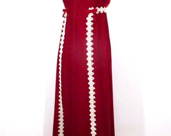 Vintage RED VELVET GOWN Mod Maxi Crochet Gothic 1960's Train Formal Sleeveless S