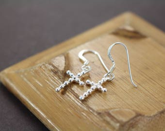 Cross Earrings , Confirmation Gifts for Girls , Baptism Gift Girl , Religious Jewelry , 925 Sterling Silver