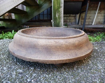 Antique Wood bowl footed Primitive farmhouse Aged Rustic large wooden 16 1/2 display kitchen