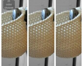 3 Hanging Storage Basket Office Organizer Doorknob  Catchall Crocheted Decor Door Knob Supply Holder