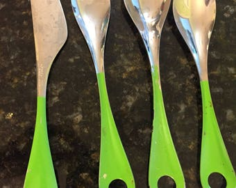 MCM FLATWARE JAPAN Bonny Enamelware, 57 Pieces Total!, Forks, Knives, Soup Spoons, Teaspoons, Green Enamel w/Stainless at Modern Logic
