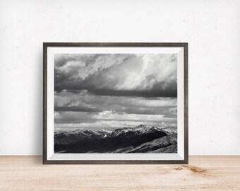 Black and White Mountain Landscape Photograph, Black and White landscape photography, Physical Print