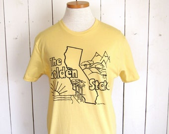 California TShirt - The Golden State - Pale Yellow Black - Hand Drawn - Palm Trees - Mountains - Sunset - Small Medium Large XL