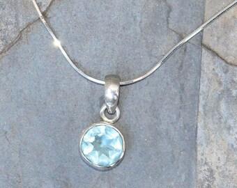 Blue Topaz Necklace, Gemstone Necklace, Sterling Silver Necklace, Light Blue Necklace, Blue Topaz Jewelry, Holiday Necklace, For Her