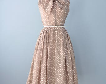 1950s Day Dress...KAY WYNNE Original Semi Sheer Polka Dot Day Dress 27 Inch Waist