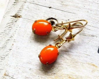 MOVING SALE Hocus Pocus, Golden Stars and Vintage Orange  Oval Glass in Natural Brass with vintage Star Ear wire Earrings by Hollywood Hillb
