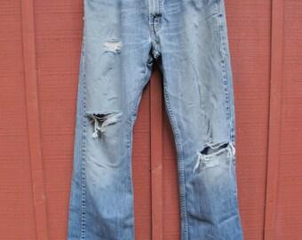 Faded Worn Levi's 34/32 Denim Boot Cut Jeans w/ Holes & Wear Worn Out Theater Film Wardrobe Men's Size 34 Pants Vintage 80s Denim 90s Denim