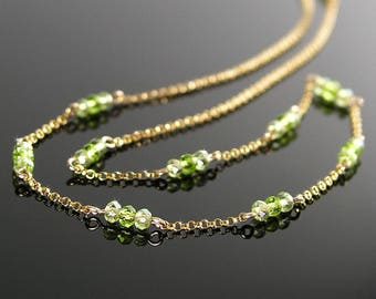 Delicate Peridot Crystal Necklace, 14K Gold Fill OR Sterling Silver Necklace, Simple Minimalist Necklace Peridot Green Chain Beaded Necklace
