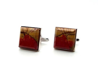 Grand Canyons Cufflinks – Colorful Picasso Jasper Cufflinks – Square Picasso Jasper Cufflinks