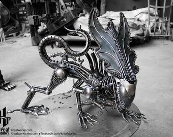 Recycled Metal Crouching Queen Monster (Medium item) --- Steampunk Cyberpunk Dieselpunk Biomechanic Xenomorph