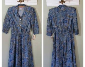 1970s Day Dress, Paisley Print by The Look, Blue and green, Size Large, #55685