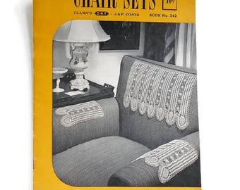 Crochet Pattern Chair Sets Clarks Lace Filet J & P Coats Arm Covers, The Spool Cotton Co 1948, Vintage Pattern Booklet