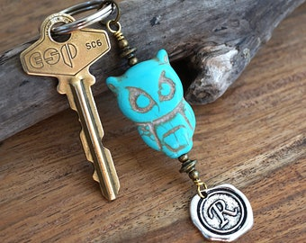Cute Owl Keychain Personalized Keychain Pet Gift Initial Wax Seal Big Turquoise Owl Keychain Gift for Dad Men Owl Gifts Keyring