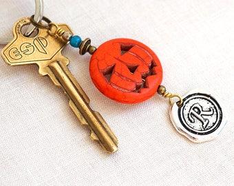Halloween Costume Accessory Orange Pumpkin Keychain Carved Pumpkin Charm Initial Monogram Personalized Halloween Gift Key Chain Adult Unisex