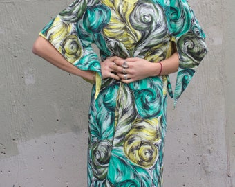 Vintage 1950s Dress // 50s Abstract Feather Plume Print Cotton Pake Muu Pali Hawaiian Dress // Summer Dress