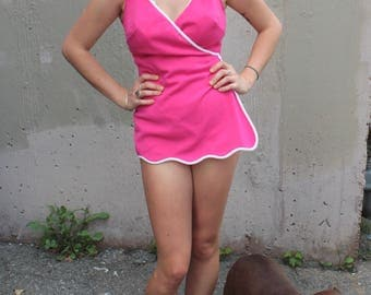 Vintage 1960's Swimsuit // 60s Fuchsia Pink Bathing Suit with White Trim // One Piece Swimsuit Romper with Wrap Skirt and Buttons