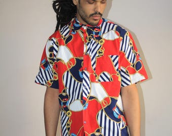 Hip Hop Rap Rapper Fresh Prince VTG 90s Nautical Sailor American Button Up Novelty Dress Shirt - 1990s Button Ups - 90s Clothing - MV0370