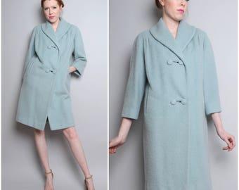 1960's Lilli Ann Coat / 60's 50's Mohair Light Blue / Small