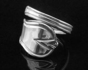 Art Deco Sterling Silver Spoon Ring, Geometric Jewelry