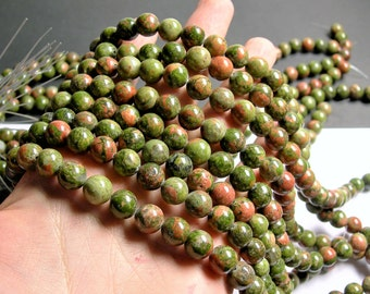 Unakite - 10 mm round beads -1 full strand - 40 beads - A quality - RFG1352