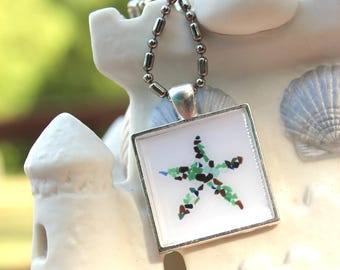 Starfish Sea Glass Square Necklace keychain from the Beach Seaglass