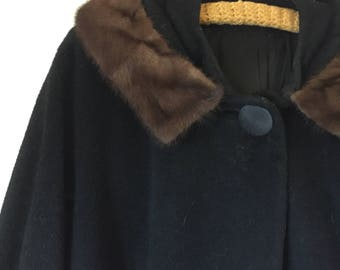 Mink Collar Coat | 60s vintage mod mid century retro womens 1960s black long a line extra large XL L winter warm big button
