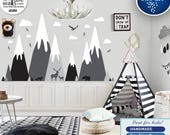 Gray, Black mountain wall decals, Mountain sticker for nursery wall decal with deer,bear,fox,eagle,forest,clouds Removable wall sticker d580