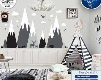 Mountain wall decal, Mountains nursery wall decal with deer,bear,fox,eagle,forest,clouds. Removable wall sticker.Adventure decal d580