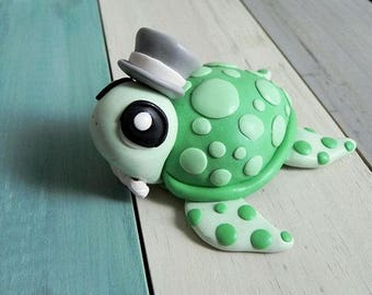 Turtle Figurine Cake Topper Handmade Home Decor