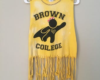Brown College tank top, Upcycled, one of a kind, Caregiver, yellow for summer