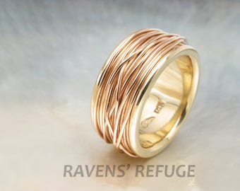 coiled wedding band -- string wedding ring -- spool ring in solid 14k gold