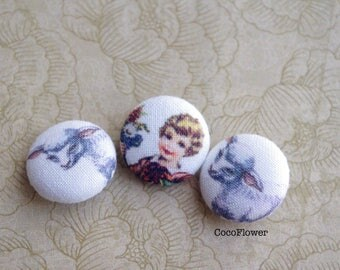 3 Fabric Buttons Set - 19mm - Cute Lamb and Girl - Vintage kids