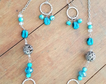 Turquoise Silver Bead Necklace Chunky Jewelry Bohemian Boho Style