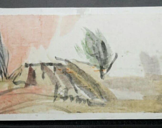 "Watercolor landscape painting: Juniper, Red Sky, and Clouds. Watercolor landscape on paper. 4"" x 10"" (10 x 25.5 cm)"