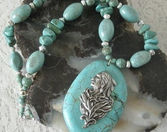 Warrior Turquoise Necklace, southwestern jewelry southwest jewelry turquoise jewelry mens jewelry native american jewelry style western