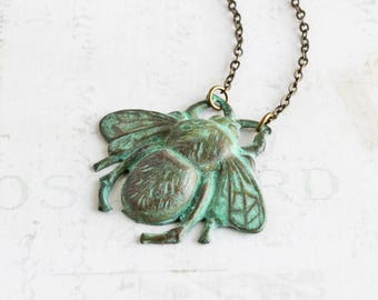 Green Patina Honey Bee Pendant Necklace on Antiqued Brass Chain